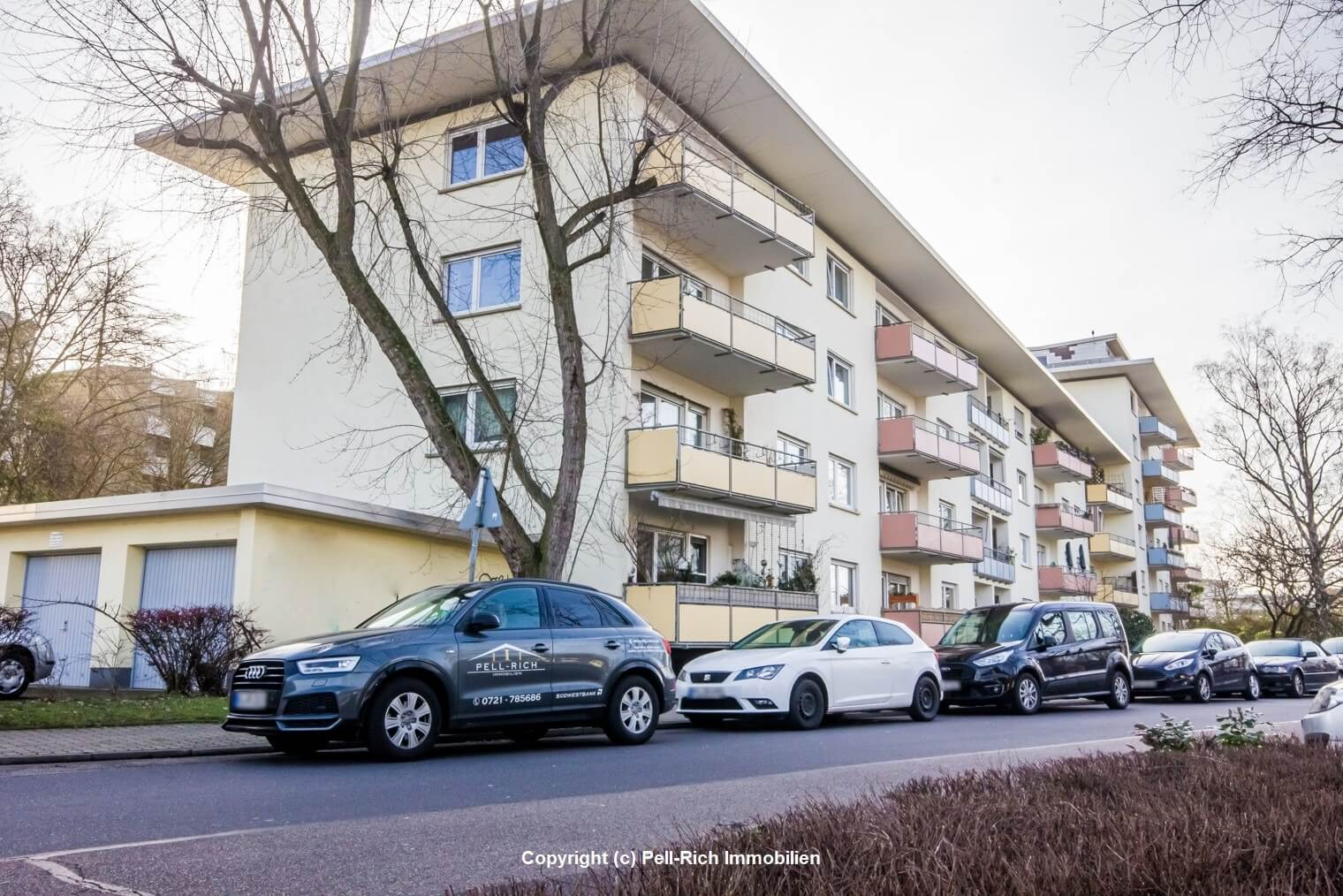 KARLSRUHE-NORDWESTSTADT: Attraktive 3-Zi-Wohnung im Erbbaurecht mit 2 Balkonen & Garage