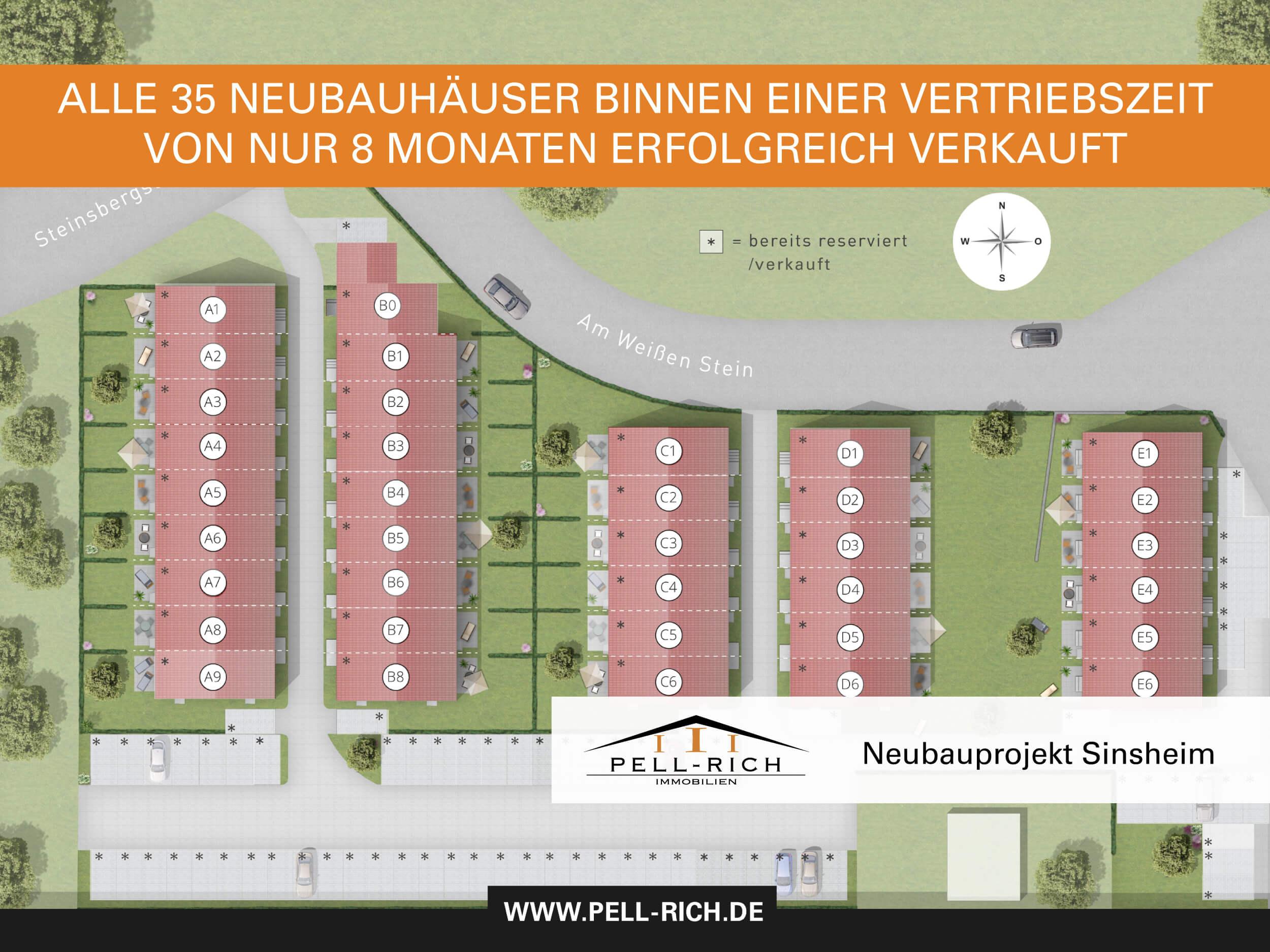"""-komplett verkauft- NEUBAU-SCHLUSSVERKAUF: Reihenhäuser """"Am weißen Stein"""" inkl. 2x Stellplatz, Keller und Garten"""