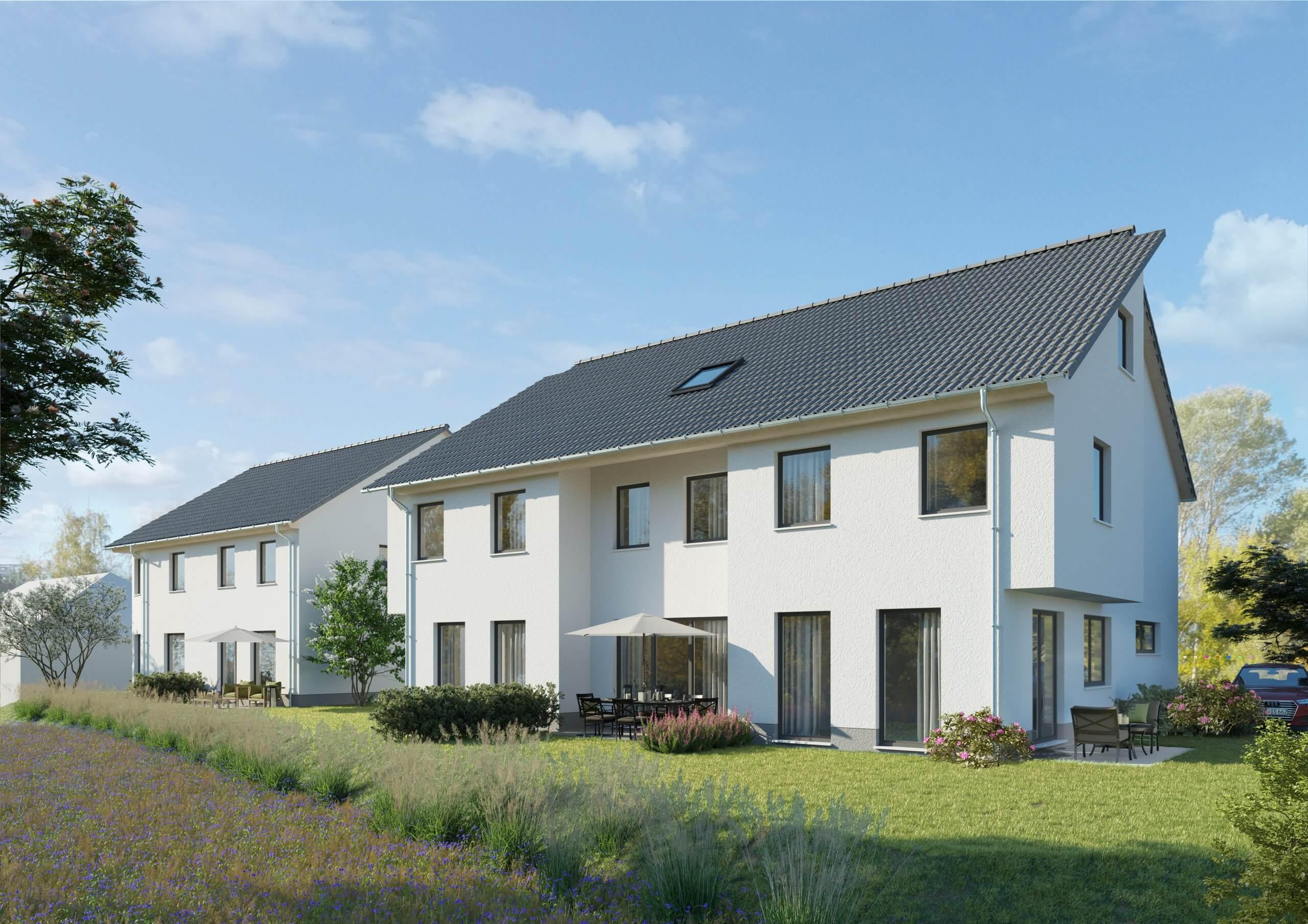 SEEBLICK: Neubau-Reiheneckhaus sowie ein Mitteilhaus inkl. Außenstellplatz in Daxlanden